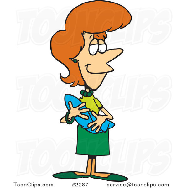 Cartoon Happy Mother Holding a Newborn Baby