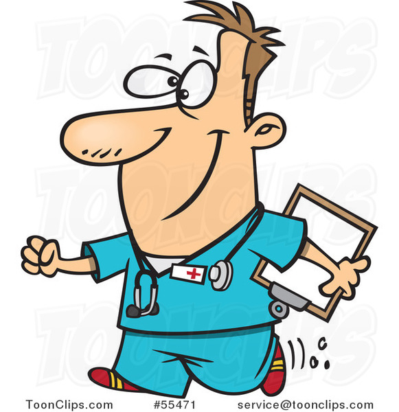 Cartoon Happy Nurse Carrying a Clipboard
