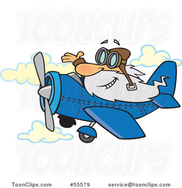 Cartoon Happy Old White Guy Waving and Flying a Plane