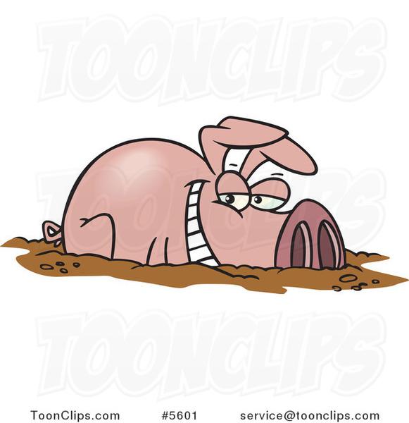Cartoon Pig In Mud Puddle Cartoon happy pig in a mud