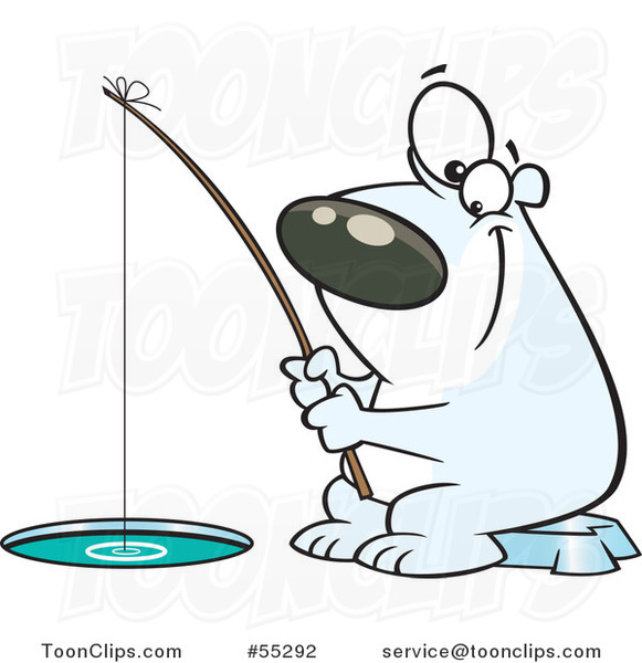 Cartoon Happy Polar Bear Ice Fishing