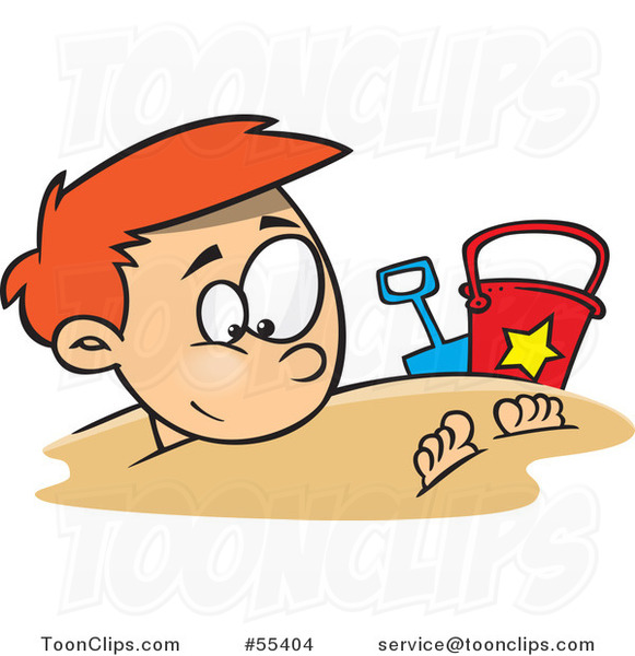 Cartoon Happy Red Haired Boy Buried in Beach Sand