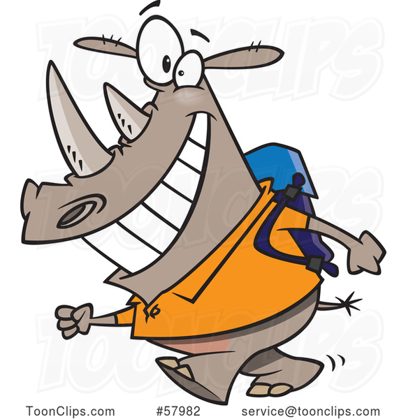 Cartoon Happy Rhinoceros Student Walking to School