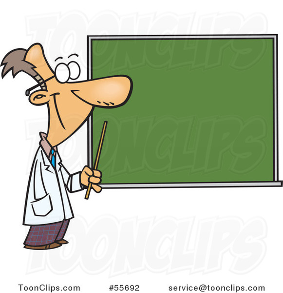 Cartoon Happy Science Teacher Pointing to a Chalk Board