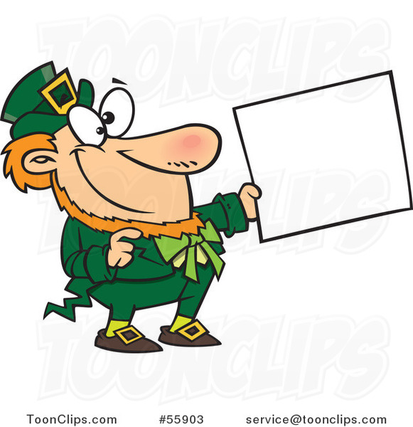 Cartoon Happy St Patricks Day Leprechaun Holding out a Sign