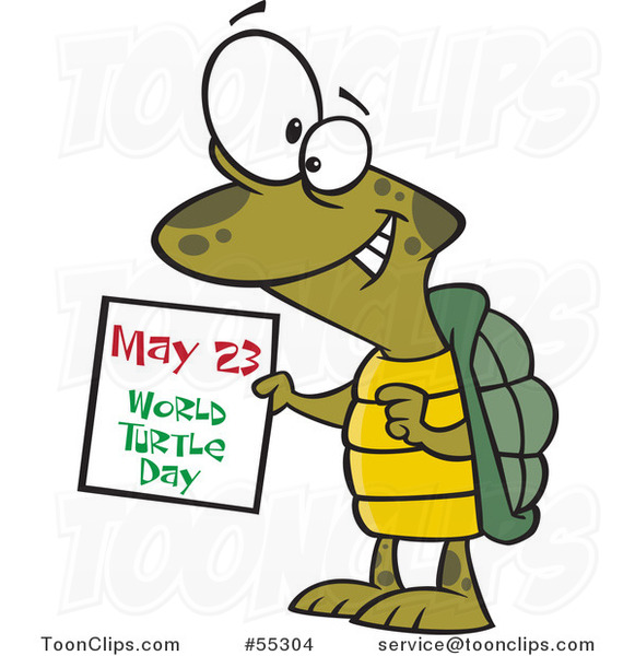 Cartoon Happy Tortoise Holding a May 23 World Turtle Day Calendar