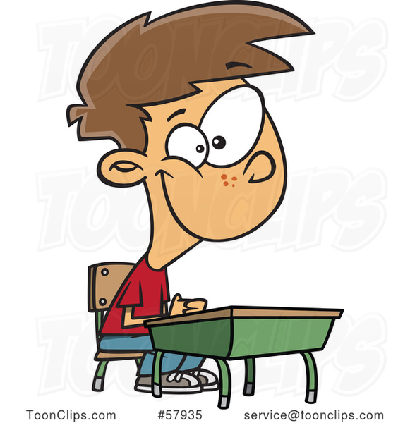 Cartoon Happy White Boy Sitting at His School Desk