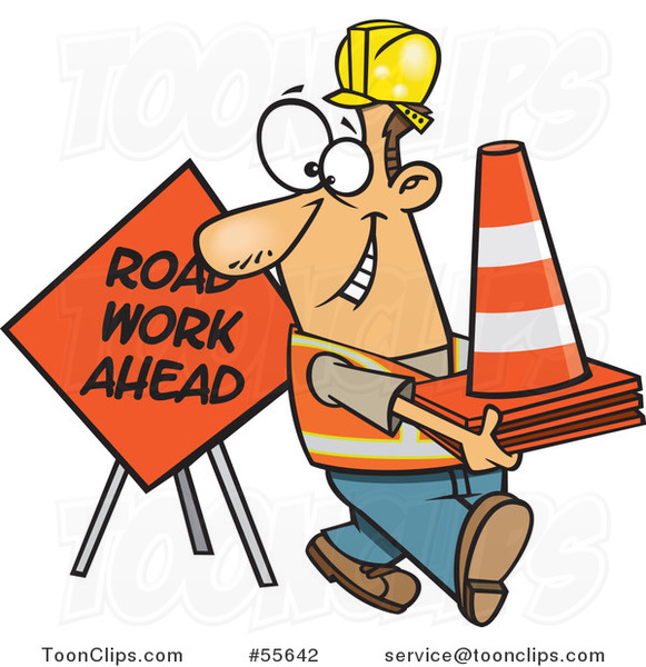 Cartoon Happy White Construction Worker with Road Cones and a Sign