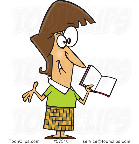 Cartoon Happy White Female Teacher Holding a Book