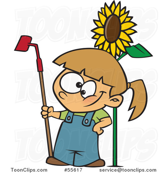 Cartoon Happy White Girl Standing with a Gardening Hoe by a Sunflower