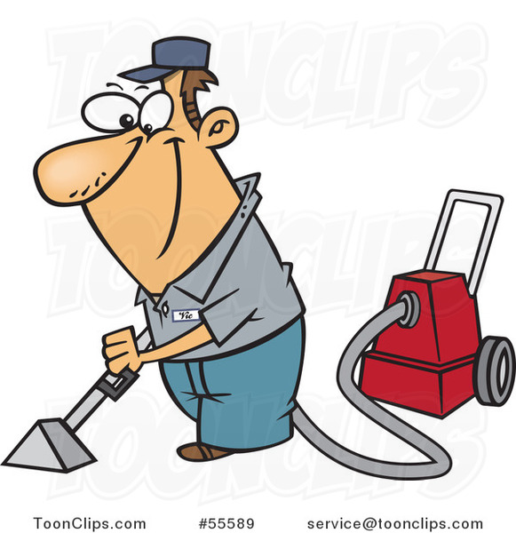 Cartoon happy white guy cleaning carpets 55589 by ron for Cartoon carpet