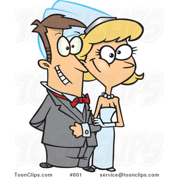Cartoon Happy White Wedding Couple