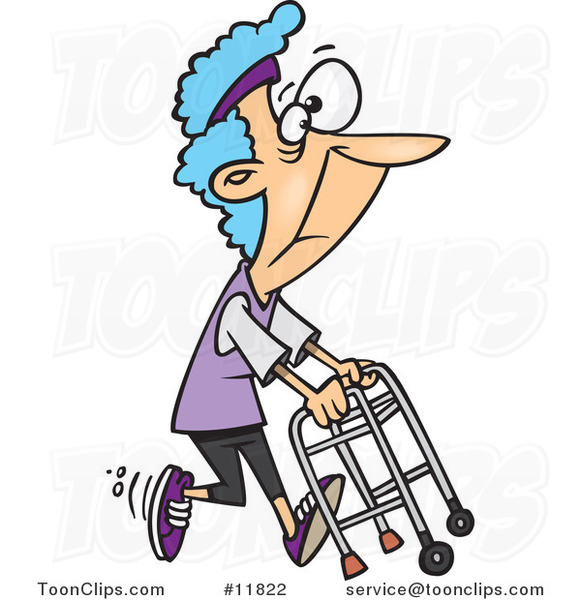 Cartoon Healthy Granny Exercising with Her Walker