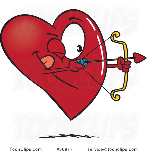Cartoon Heart Character Shooting an Arrow