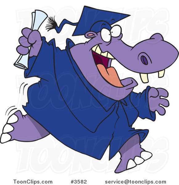 Cartoon Hippo Graduate Running