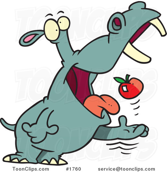 Cartoon Hippo Tossing an Apple into His Mouth
