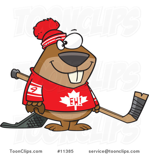 Cartoon Hockey Beaver