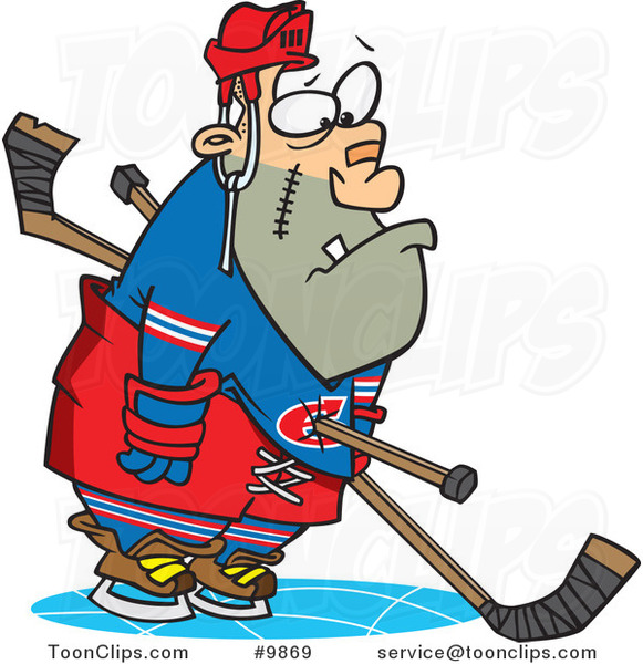 Cartoon Hockey Player Getting a Penalty