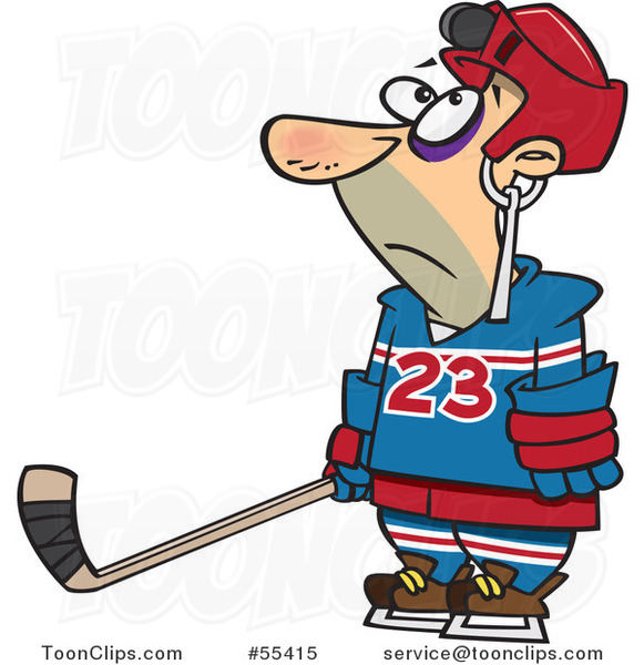 Cartoon Hockey Player with a Puck Stuck in His Helmet