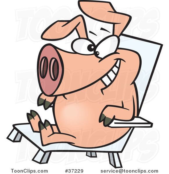 Cartoon Hog Relaxing in a Chair on Pig Day