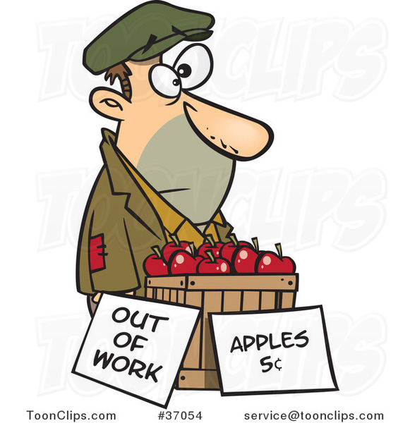 Cartoon Homeless Guy Trying to Sell Apples