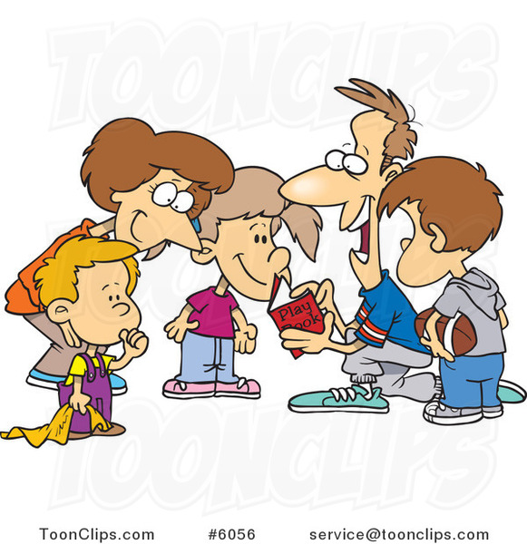 Cartoon Huddled Family Reading a Football Play Book