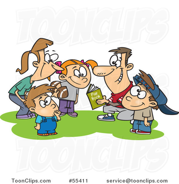 Cartoon Huddling Family Going over a Football Play Book