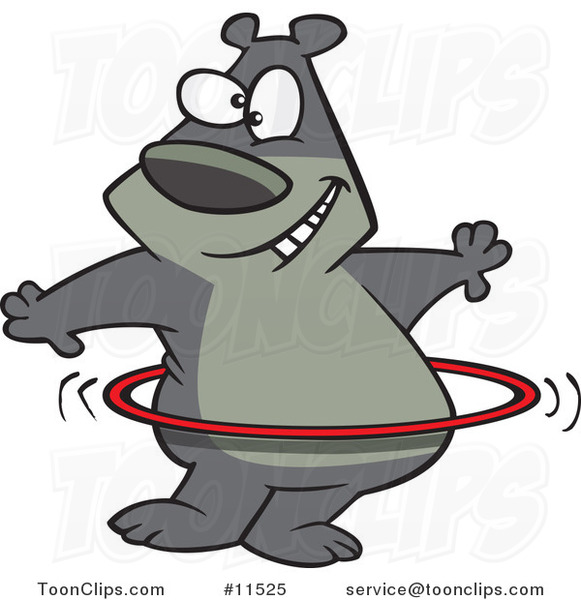 Cartoon Hula Hooping Bear