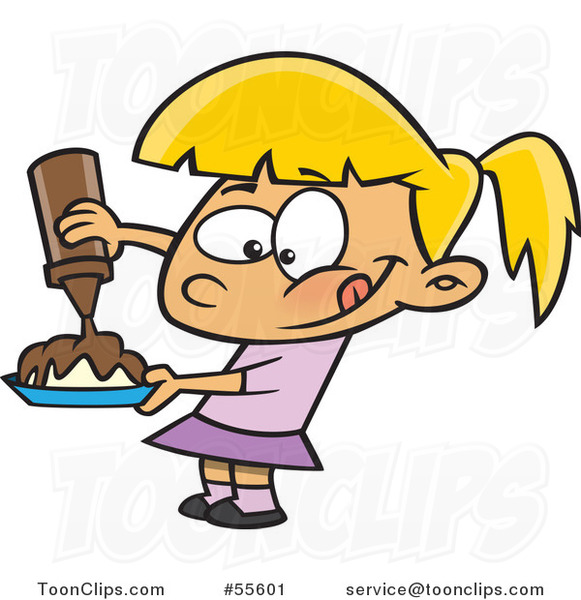 Cartoon Hungry Blond Girl Pouring Chocolate Syrup on Her Food