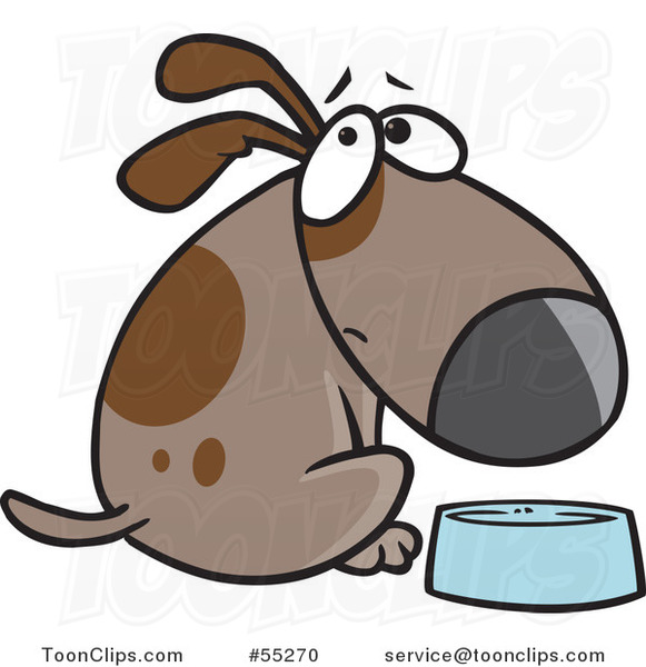 Cartoon Hungry Brown Dog Looking over His Shoulder by a Dish