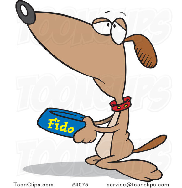 Cartoon Hungry Dog Begging for Food #4075 by Ron Leishman