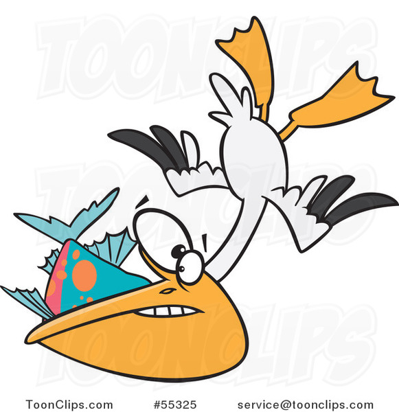 Cartoon Hungry Pelican Swooping up a Fish