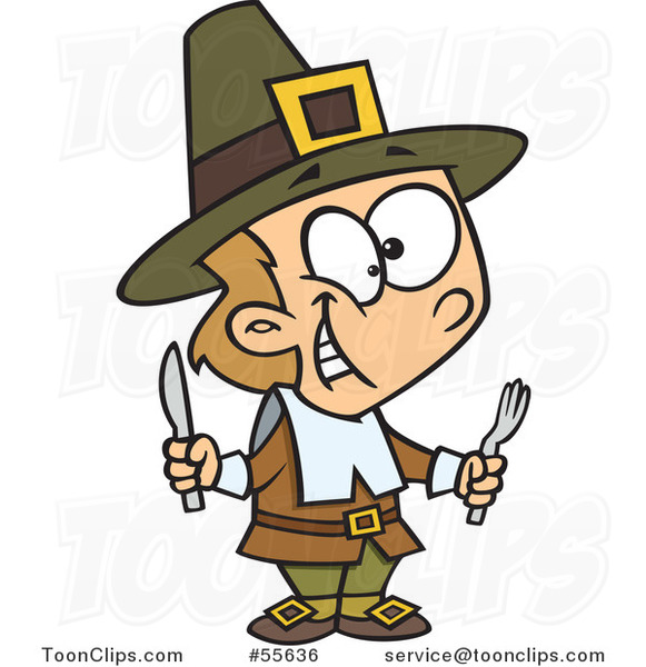 Cartoon Hungry Thanksgiving Pilgrim Boy Holding Silverware