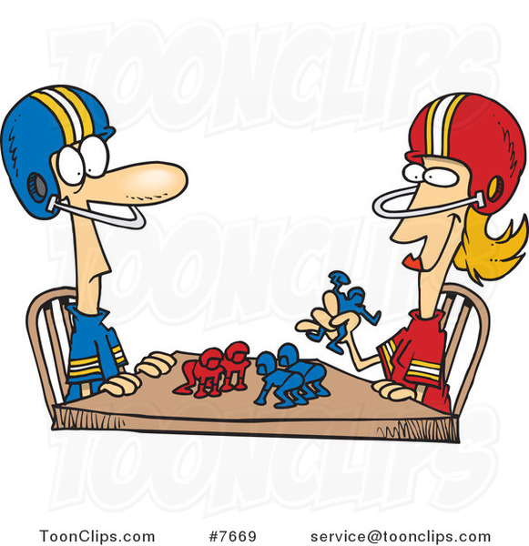 Cartoon Husband and Wife Playing Table Football