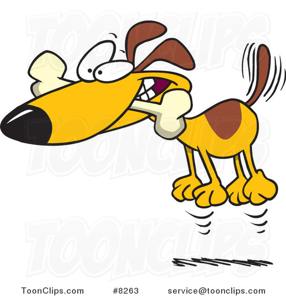 Hyperactive Puppy: Cartoon Hyper Dog Jumping With A Bone In His Mouth #8263