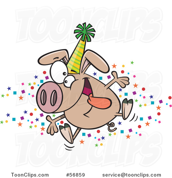 Cartoon Hyper Pig Wearing a Party Hat and Celebrating the New Year