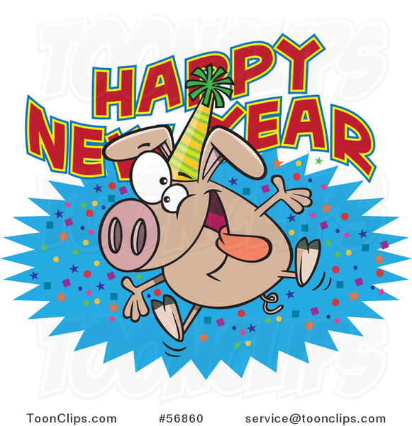 Cartoon Hyper Pig Wearing a Party Hat and Jumping over a New Year Greeting
