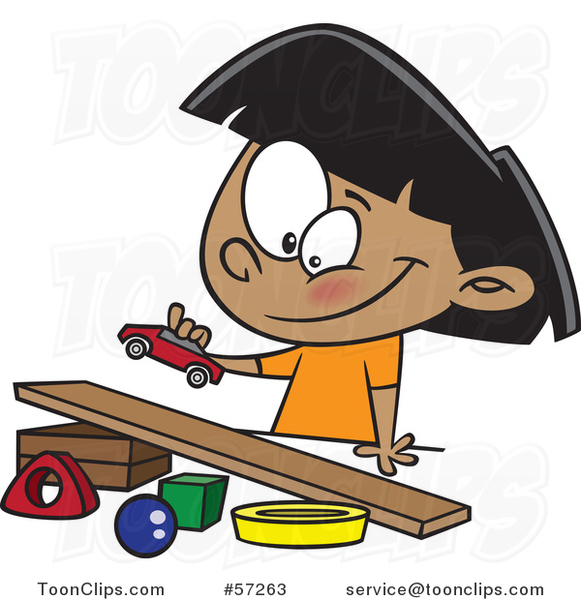 Cartoon Indian Girl Playing with a Toy Car and Ramp