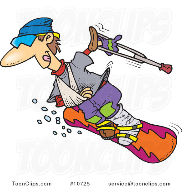 Cartoon Injured Snowboarder