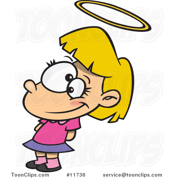 Cartoon Innocent Angelic Girl with a Halo