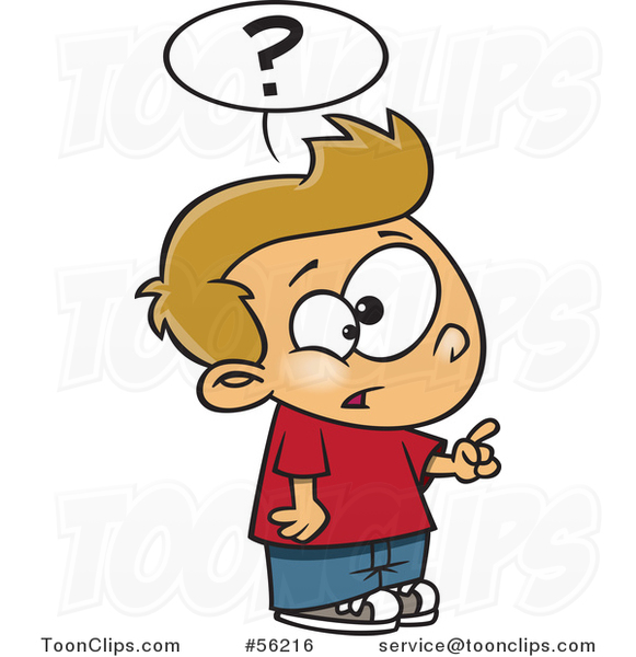 Cartoon Inquisitive White Boy Asking a Question