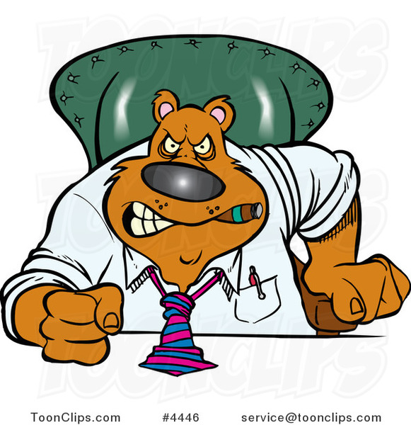 Cartoon Intimidating Business Bear Pounding His Desk
