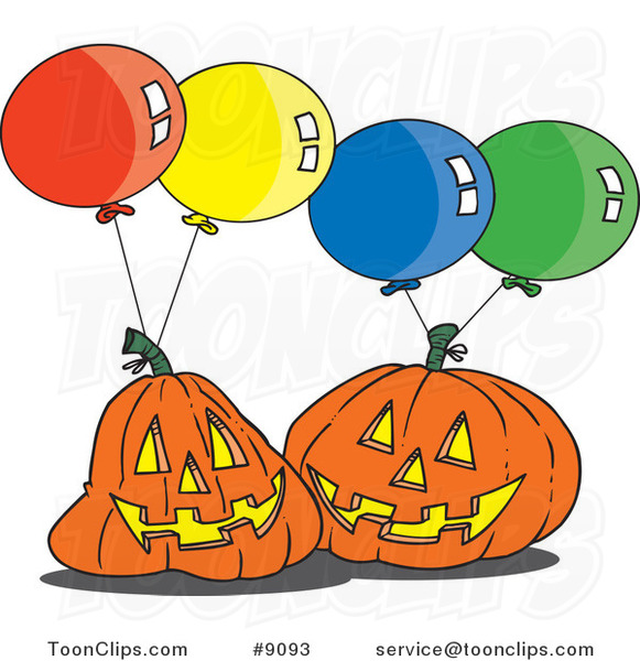 Cartoon Jackolanterns and Party Balloons