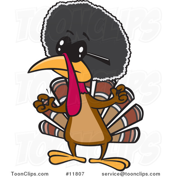 Cartoon Jive Turkey Bird with an Afro