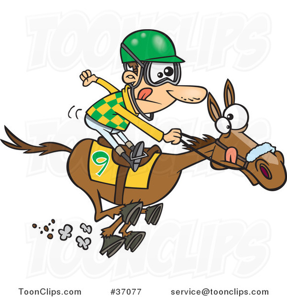Cartoon Jockey Guy Racing a Horse