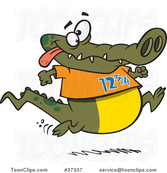Cartoon Jogging Alligator