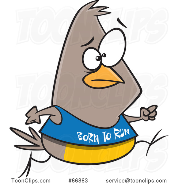 Cartoon Jogging Bird Wearing a Born to Run Shirt
