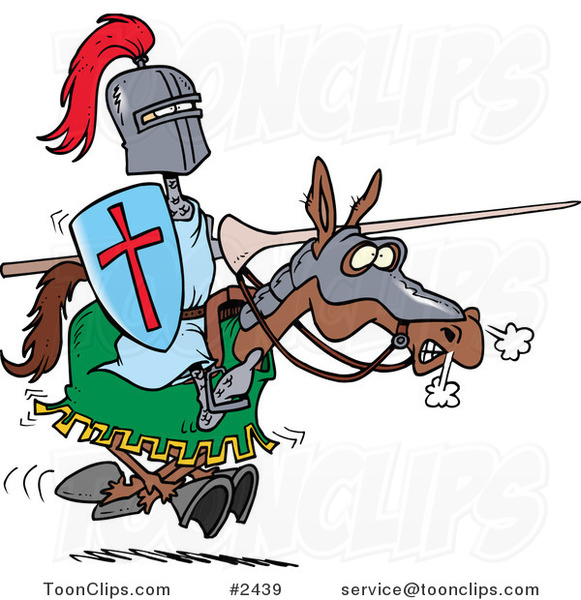 Cartoon Jousting Knight on a Horse