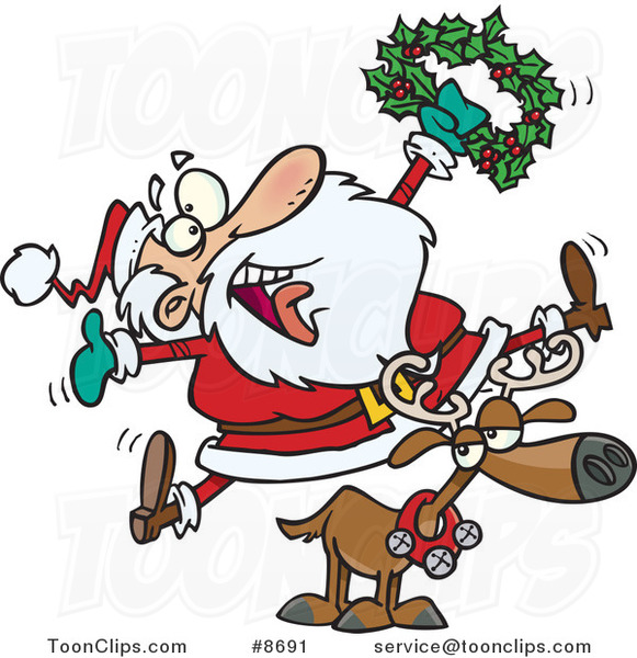 Cartoon Joyous Santa Riding a Reindeer