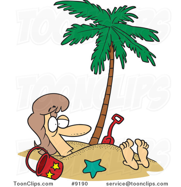 Cartoon Lady Buried in Sand Under a Palm Tree